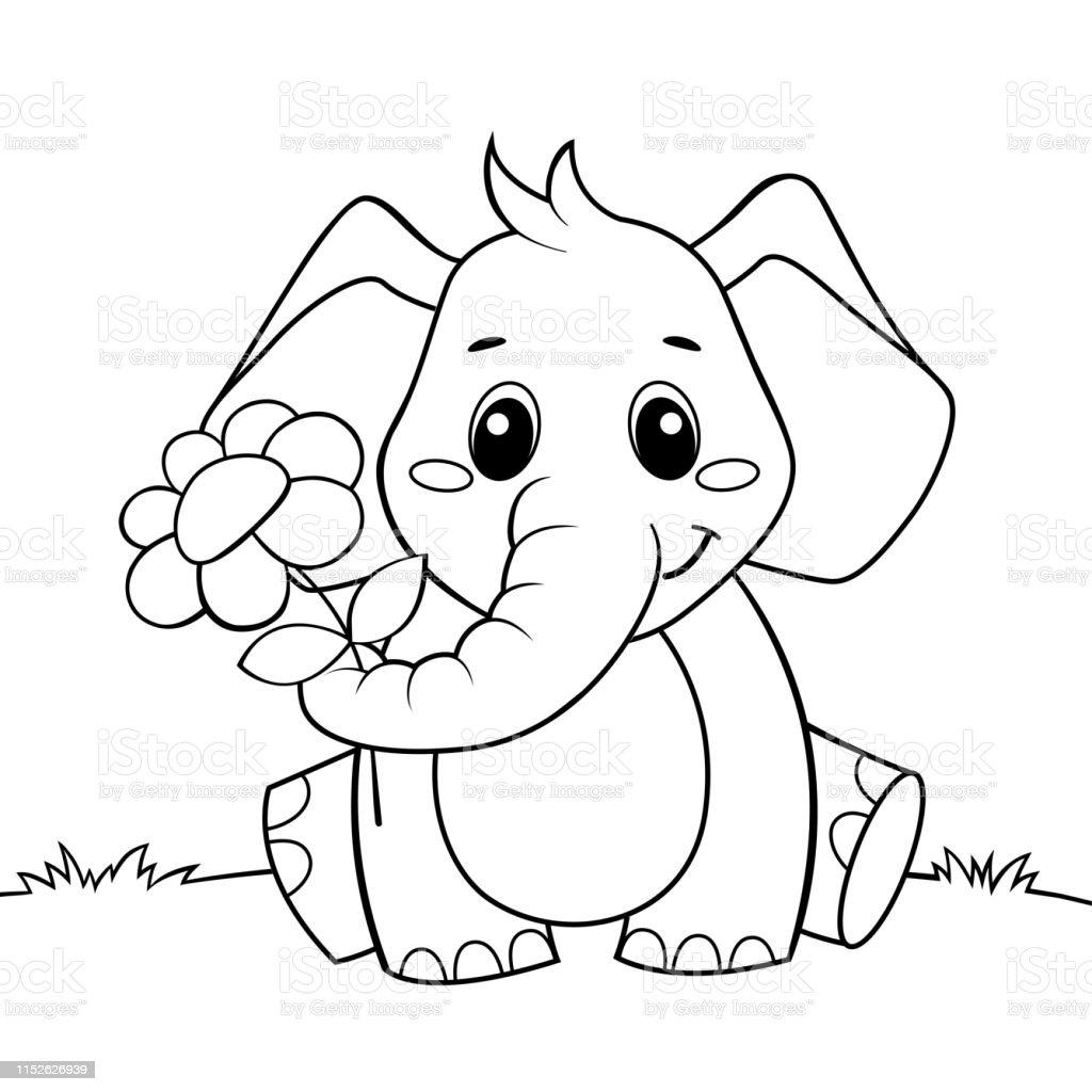 Ilustración De Lindo Elefante De Dibujos Animados Con Flores