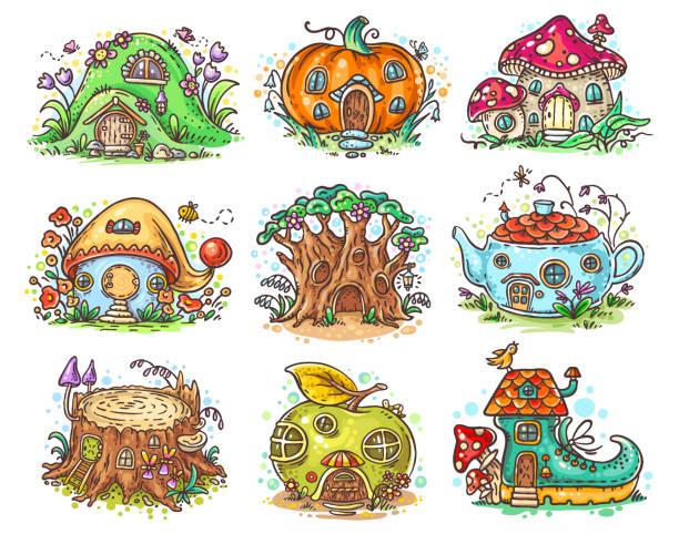 Cute cartoon elven, fairy or gnome houses in the form of pumpkin, tree, teapot, boot, apple, mushroom, stump vector art illustration