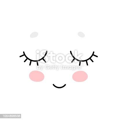 Cute cartoon face, Scandinavian print or poster design