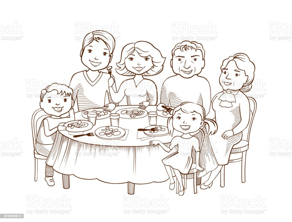 Cute cartoon family dined at the table vector art illustration