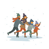 cute cartoon family, kids and parents ice figure skating together on ice rink isolated vector illustration scene