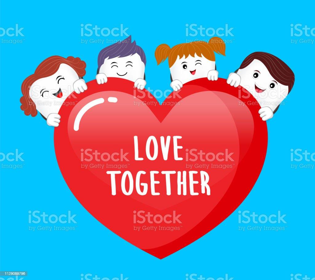 7c7076495 Personagem de família dente bonito dos desenhos animados segurando um  coração. vetor de personagem de