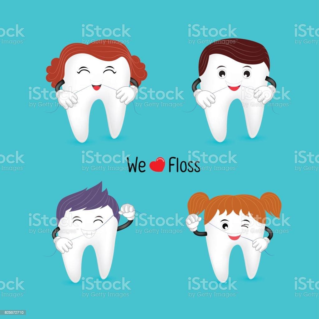 be4619a53 Personagem de família dente bonito dos desenhos animados usando fio dental.  vetor de personagem de