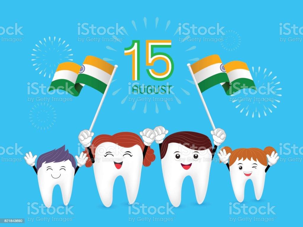 Cute cartoon family tooth character waving India flag. vector art illustration