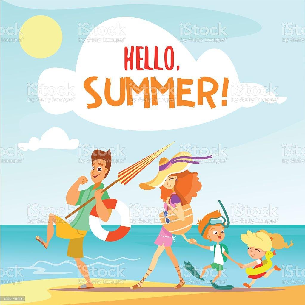Cute cartoon family walking on beach in summer vacation. vector art illustration
