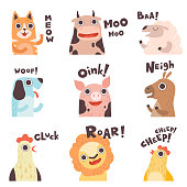 Cute Cartoon Farm Animal Making Sounds Set, Cat, Cow, Sheep, Dog, Pig, Horse, Hen, Lion, Chick Saying Vector Illustration