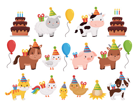 Cute cartoon farm animals collection with birthday cake, presents, balloons and cake.