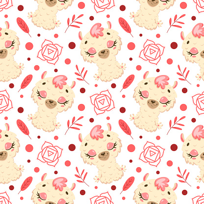 Cute cartoon farm animals meditation seamless pattern. Yoga animals pattern. Llama meditates pattern.
