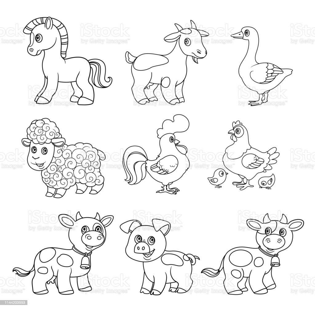 Ilustracion De Lindos Animales De Granja De Dibujos Animados