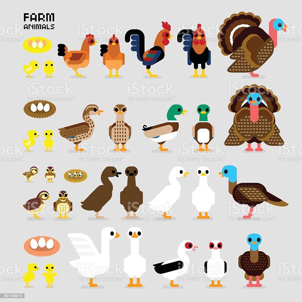 Cute Cartoon Farm Poultry Animals vector art illustration
