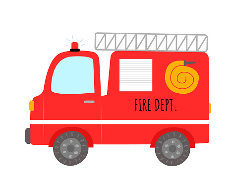 Cute cartoon fire truck isolated on white background.