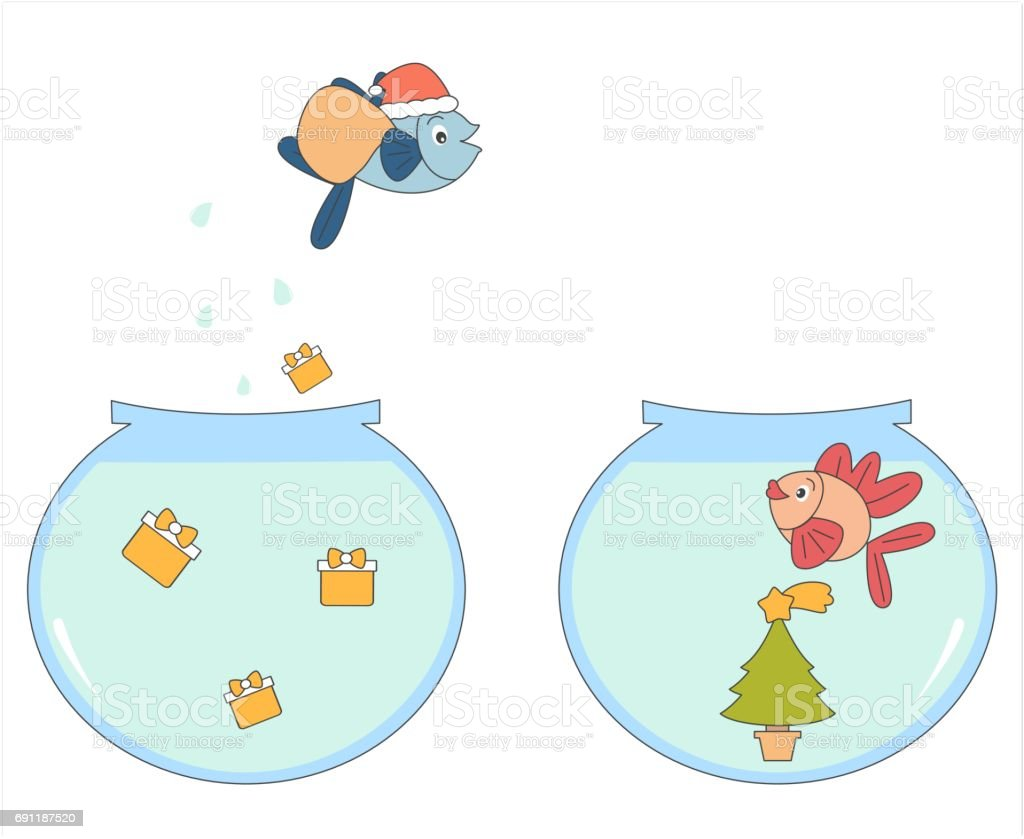 cute cartoon fish with christmas presents vector funny illustration vector art illustration