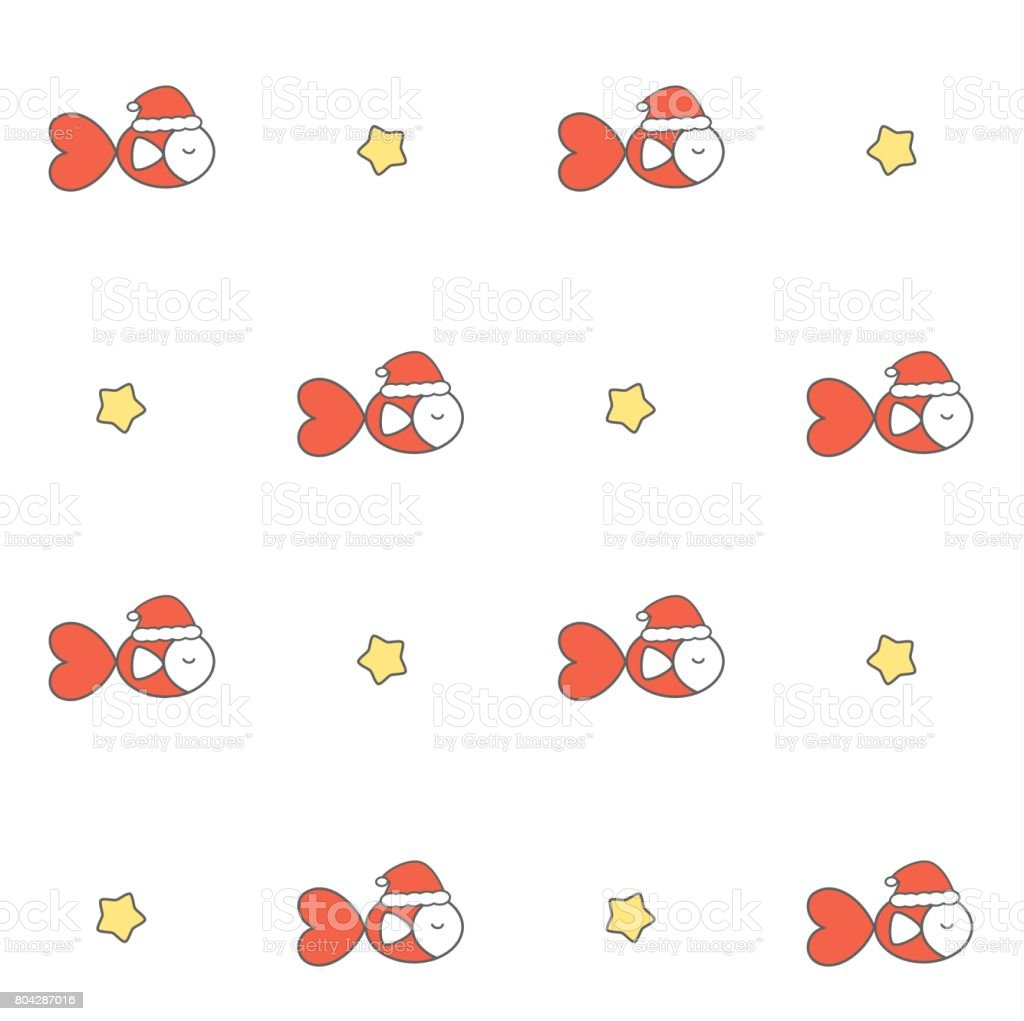 cute cartoon fish with santa claus hat seamless vector pattern background illustration vector art illustration