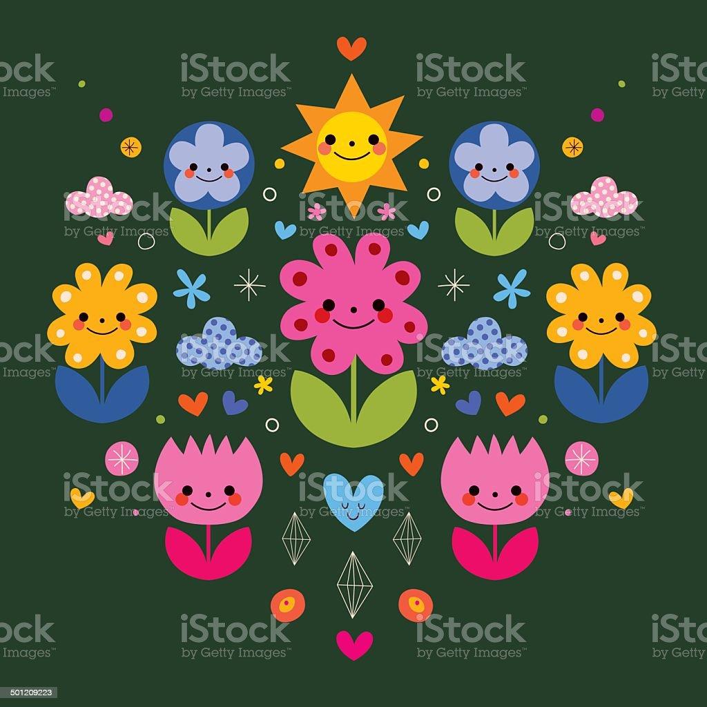 かわいい漫画のキャラクターのイラストの図案化された花の自然
