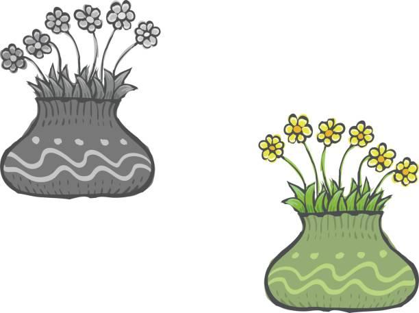Royalty Free Cartoon Of The Yellow Flower Vase Clip Art Vector