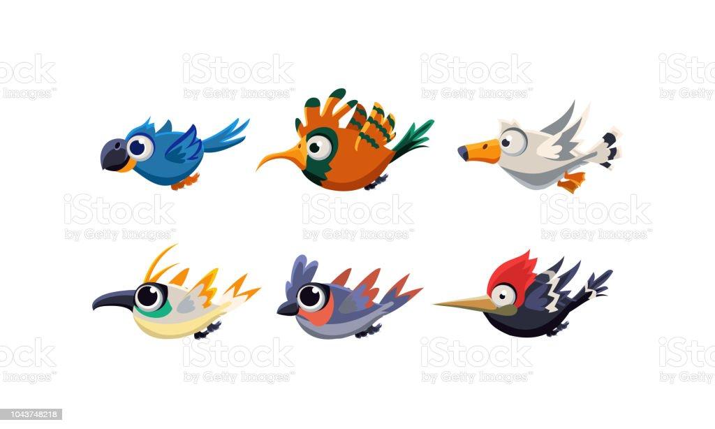 Ilustración De Conjunto De Aves Voladoras Cute Dibujos Animados