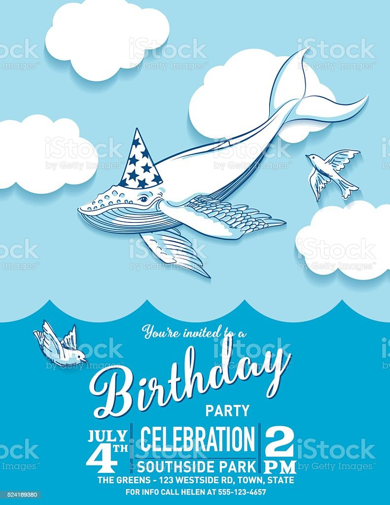 Cute Cartoon Flying Whale Birthday Hat Party Invitation Stock Vector ...