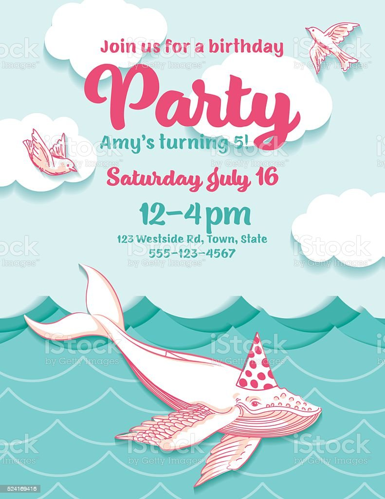 Cute Cartoon Flying Whale Birthday Hat Party Invitation stock ...
