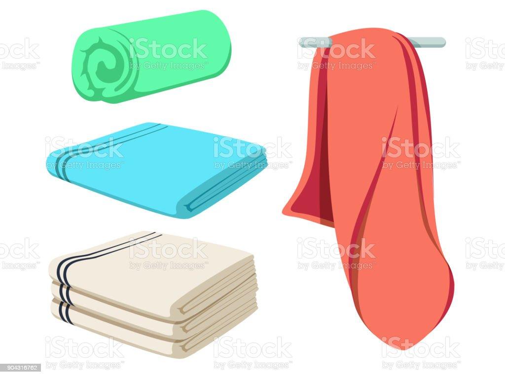 Cute cartoon folded vector towels set. Colored soft beach towel mockup. Clear wiper. vector art illustration