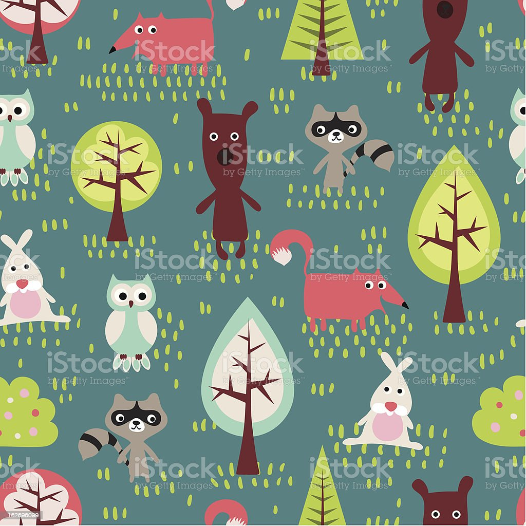 Cute cartoon forest animals and trees in seamless pattern royalty-free stock vector art