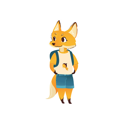 Cute cartoon fox in human clothes and back-to-school backpack standing and smiling