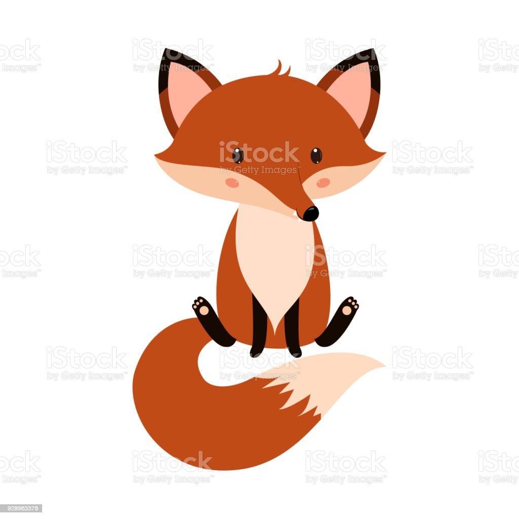 Cute cartoon fox in modern simple flat style. cute cartoon fox in modern simple flat style - immagini vettoriali stock e altre immagini di allegro royalty-free