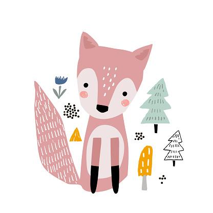 Cute cartoon fox print. Childish print for nursery, kids apparel,poster, postcard. Vector Illustration