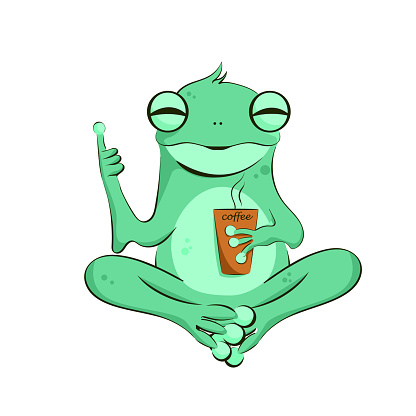 A cute cartoon frog holding a cup of coffee.