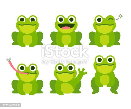 Cute cartoon frog set, animation frames. Adorable little froggy smiling, jumping, croaking, waving and catching fly with tongue. Simple flat style vector illustration.
