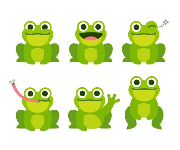 Cute cartoon frog set vector art illustration