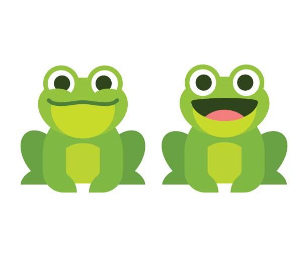 かわいい漫画のカエル - 興奮の絵文字点のイラスト素材/クリップアート素材/マンガ素材/アイコン素材