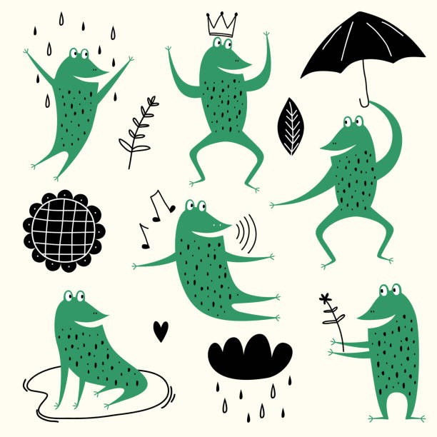 Cute cartoon frogs. Vector set animal of amphibian toad drawing, green frog collection illustration. Frogs, rain, flower, and sky. Lovely animals in scandinavian style. Concept for children print Cute cartoon frogs. Vector set animal of amphibian toad drawing, green frog collection illustration. Frogs, rain, flower, and sky. Lovely animals in scandinavian style. Concept for children print amphibians stock illustrations