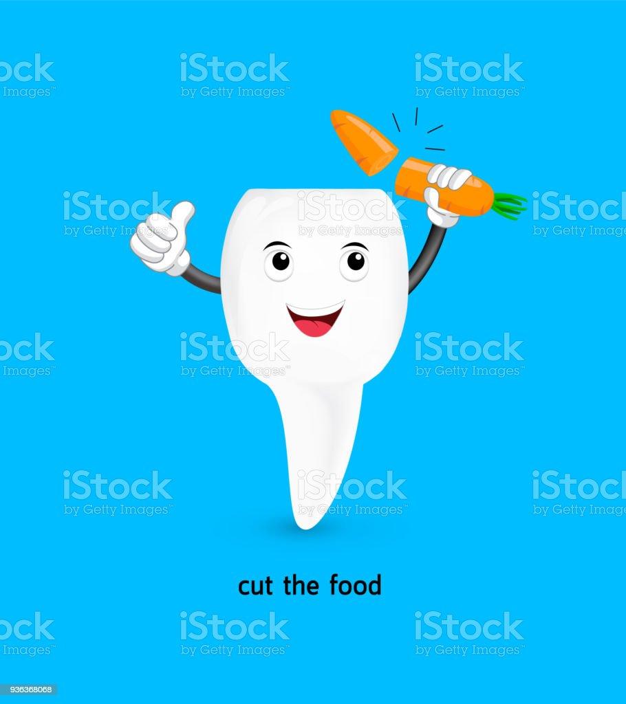 かわいい漫画の前歯はニンジンをカットしました まぶしいのベクター