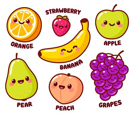 Cute cartoon fruits set