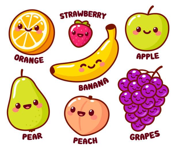 Cute cartoon fruits set vector art illustration