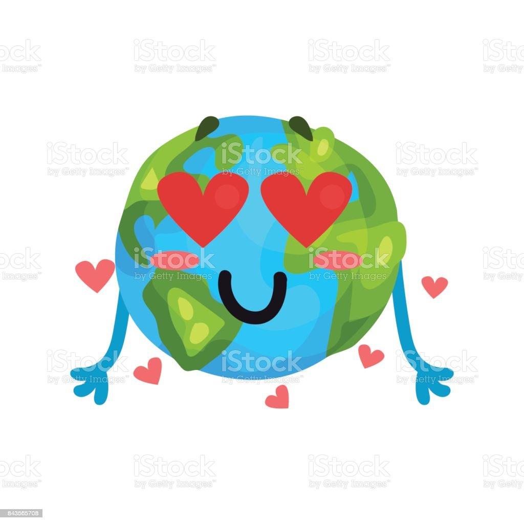 dessin anim mignon drle terre plante emoji dans lamour caractre humanis globe avec - Dessin Avec Emoji