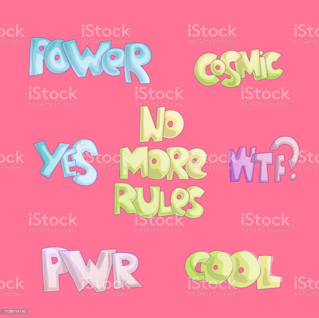 Cute cartoon funny quotes sticker quotes about free life cool lettering for girls and feminist princess cartoon font no more rules power cosmic