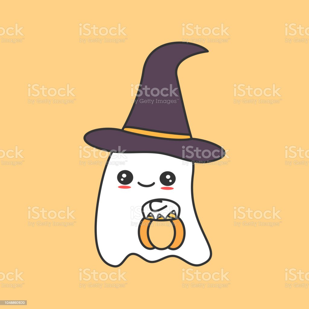 Cute Cartoon Ghost With Pumpkin Funny Vector Halloween