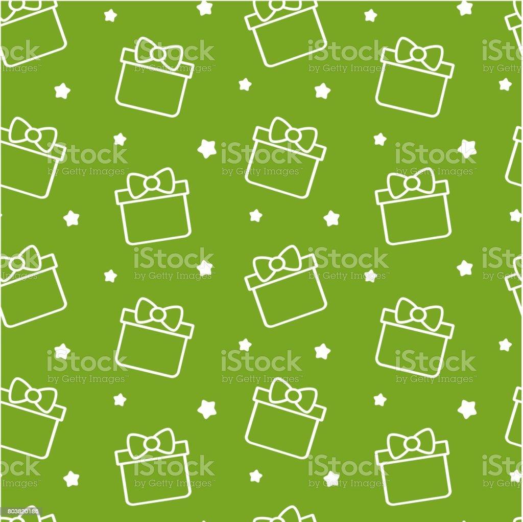 cute cartoon gift box on green background seamless vector pattern illustration vector art illustration