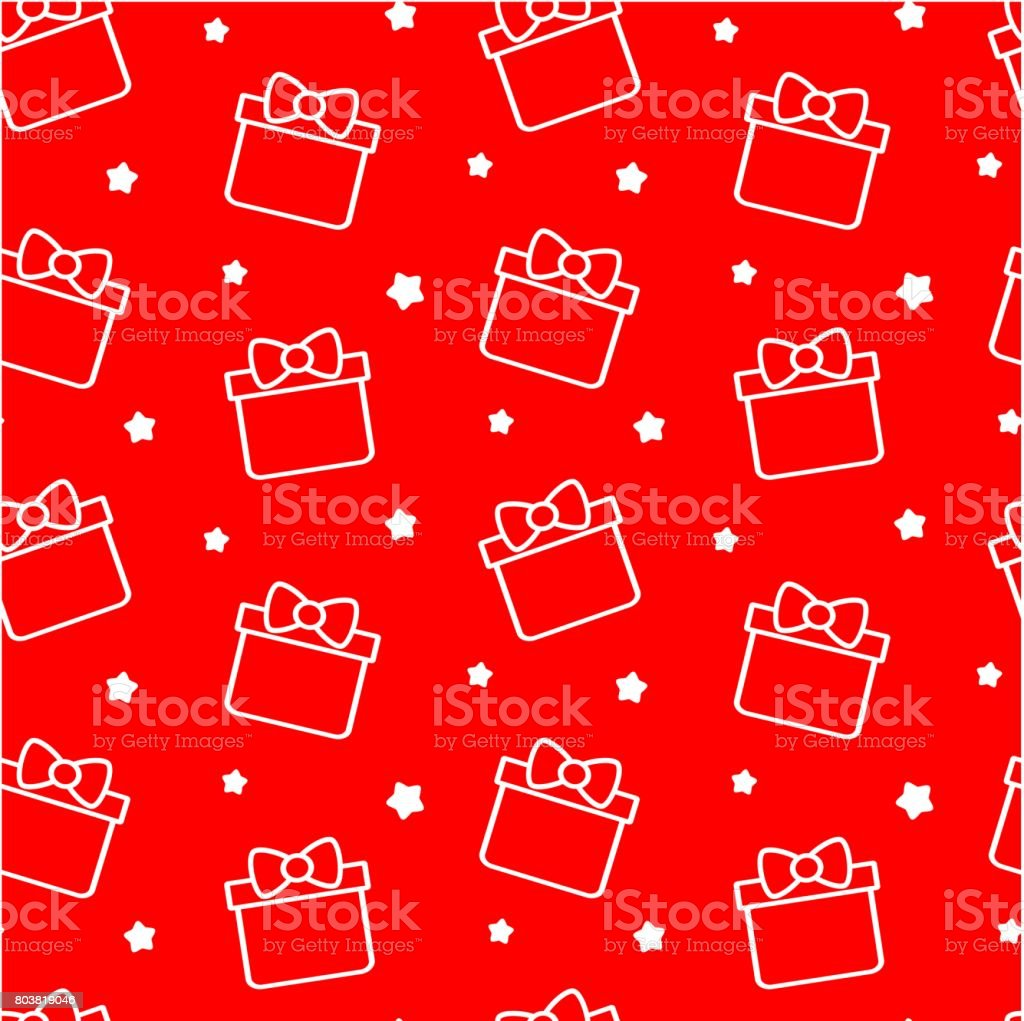 cute cartoon gift box on red background seamless vector pattern illustration vector art illustration