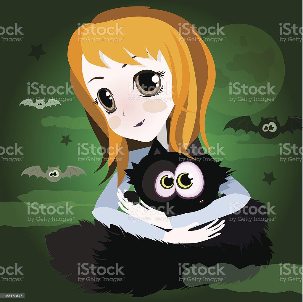 ładny Kreskówka Imbir Anime Dziewczyna Z Czarny Kot Stockowe