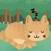 Cute Cartoon Ginger Cat Is Sleeping. Child's Drawing.
