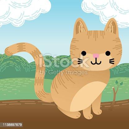 Cute Cartoon Ginger Cat Sits on a Log