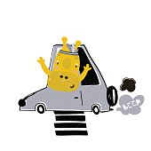 Cute cartoon giraffe on car print. Childish print for nursery, kids apparel,poster, postcard. Vector Illustration