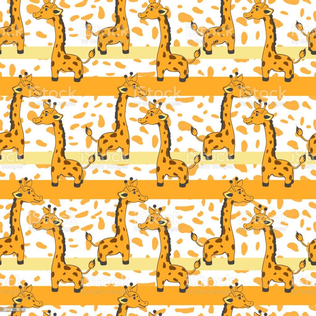 かわいい漫画キリン オレンジ色のスポットの背景ベクターのシームレスなパターン装飾的な質感カラフルな飾りグリーティング カードのキャラクター デザインで子供たちを招待ベビー シャワー陽気な壁紙 いたずら書きのベクターアート素材や画像を多数ご用意 Istock