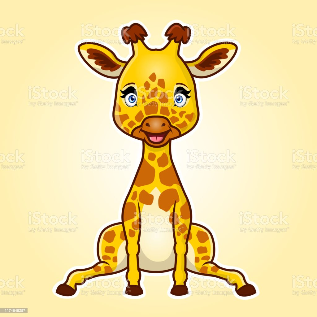 Cute Cartoon Giraffe Sitting Vector Illustration Stock Illustration Download Image Now Istock