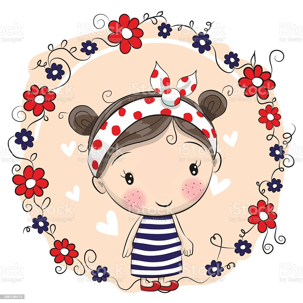 cute cartoon girl and flowers stock vector art & more images of
