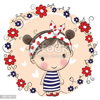 Cute Cartoon Girl And Flowers Stock Vector Art Amp More
