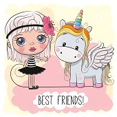 Cute Cartoon Girl and Unicorn on a pink background