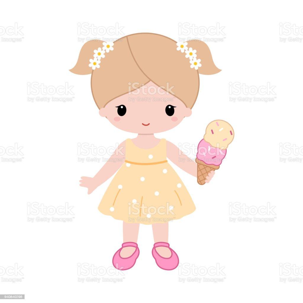 cute cartoon girl holding a ice cream vector stock vector art more